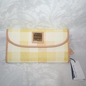 DOONEY AND BOURKE CONTINENTAL CLUTCH YELLOW COATED